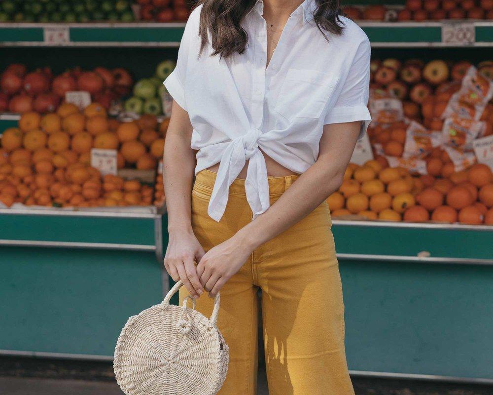 Madewell emmett wide-leg crop pants Round Woven Bag short-sleeve tie-front shirt summer outfit fruit stand new york1.jpg