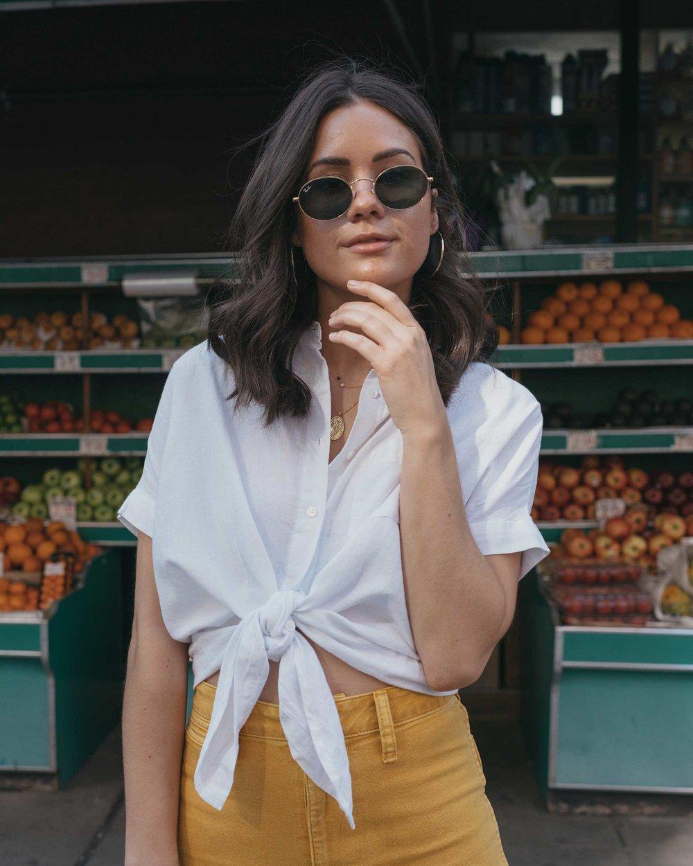 Madewell emmett wide-leg crop pants Round Woven Bag short-sleeve tie-front shirt summer outfit fruit stand new york7.jpg
