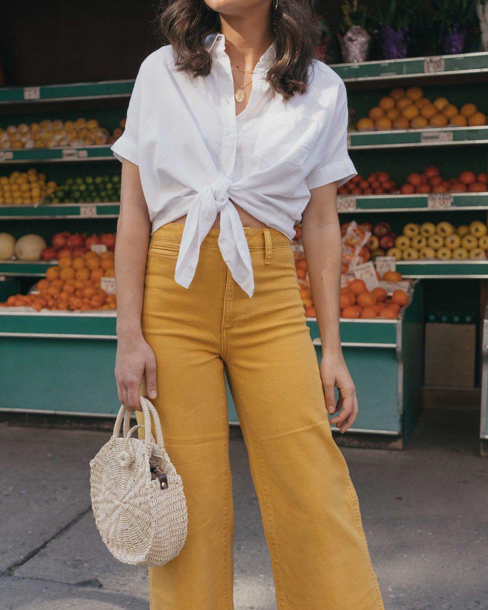 Madewell emmett wide-leg crop pants Round Woven Bag short-sleeve tie-front shirt summer outfit fruit stand new york3.jpg