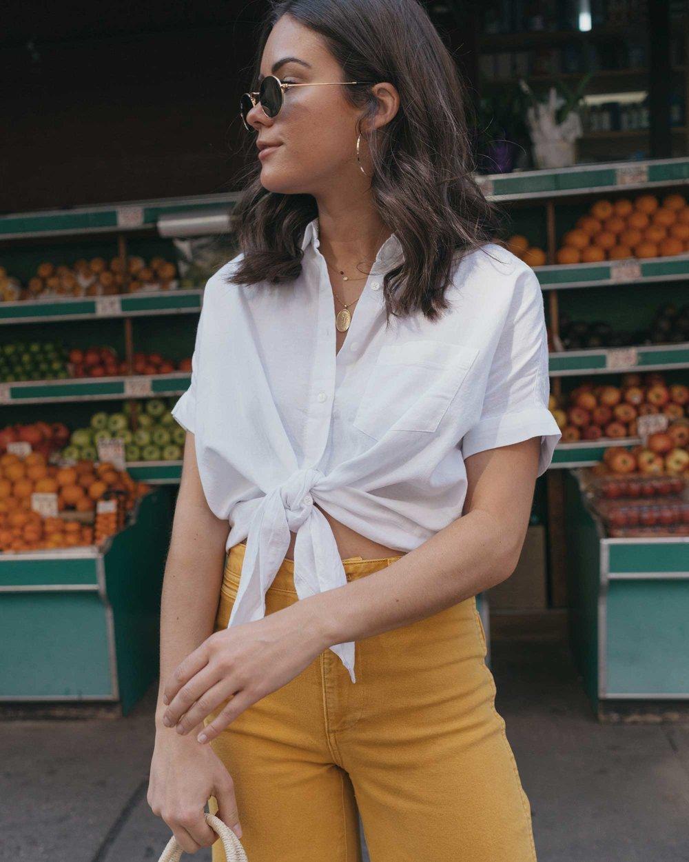 Madewell emmett wide-leg crop pants Round Woven Bag short-sleeve tie-front shirt summer outfit fruit stand new york5.jpg