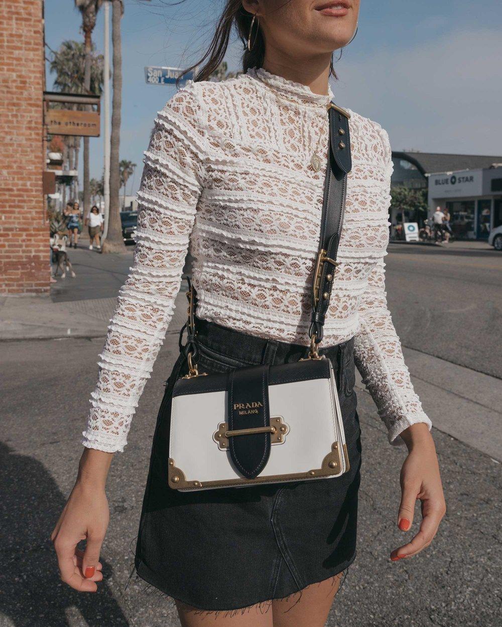 Prada City Saffiano Leather Cahier Bag, Black Denim Skirt, Summer outfit, Abbot Kinney California6.jpg