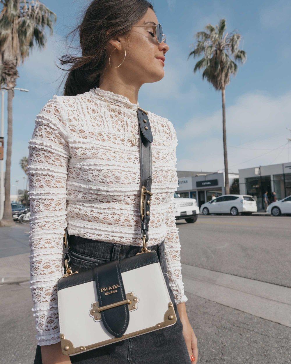Prada City Saffiano Leather Cahier Bag, Black Denim Skirt, Summer outfit, Abbot Kinney California9.jpg