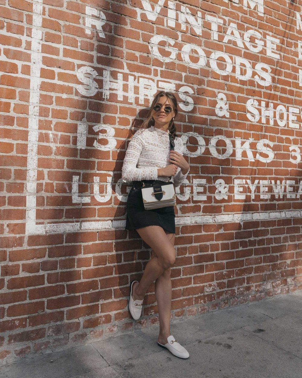 Prada City Saffiano Leather Cahier Bag, Black Denim Skirt, Summer outfit, Abbot Kinney California12.jpg