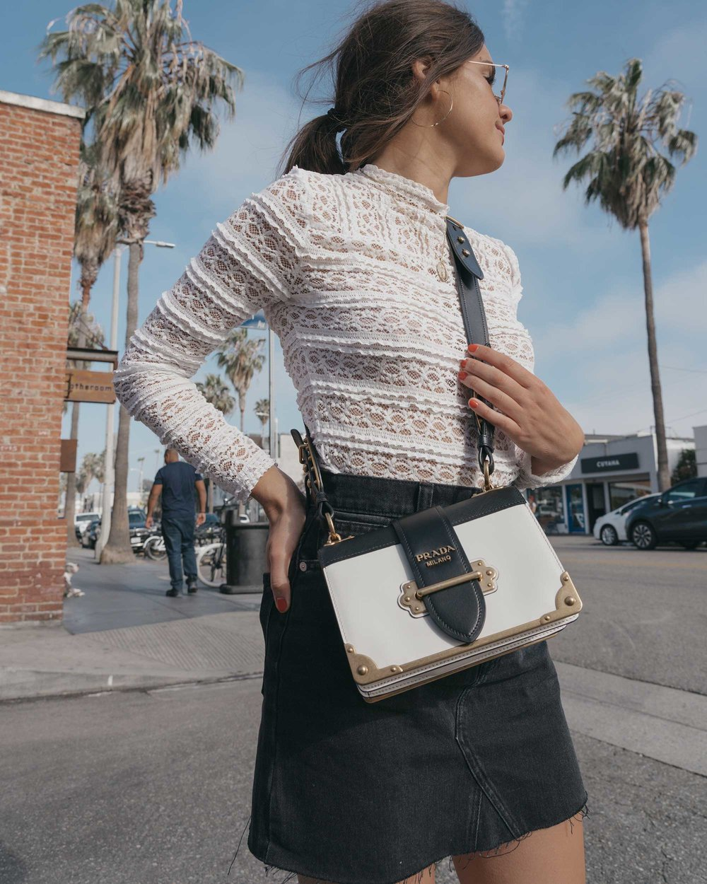 Prada City Saffiano Leather Cahier Bag, Black Denim Skirt, Summer outfit, Abbot Kinney California8.jpg