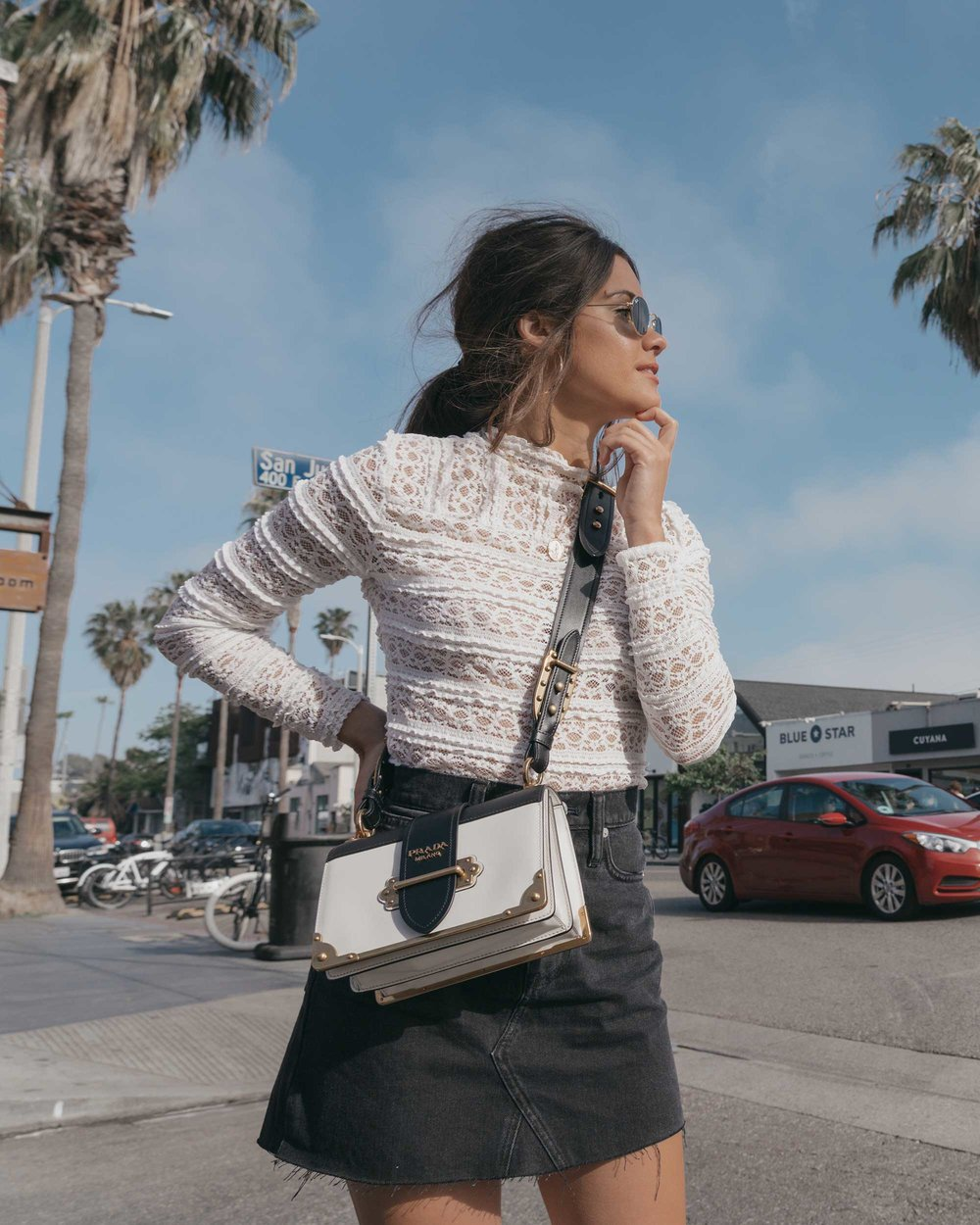 Prada City Saffiano Leather Cahier Bag, Black Denim Skirt, Summer outfit, Abbot Kinney California10.jpg