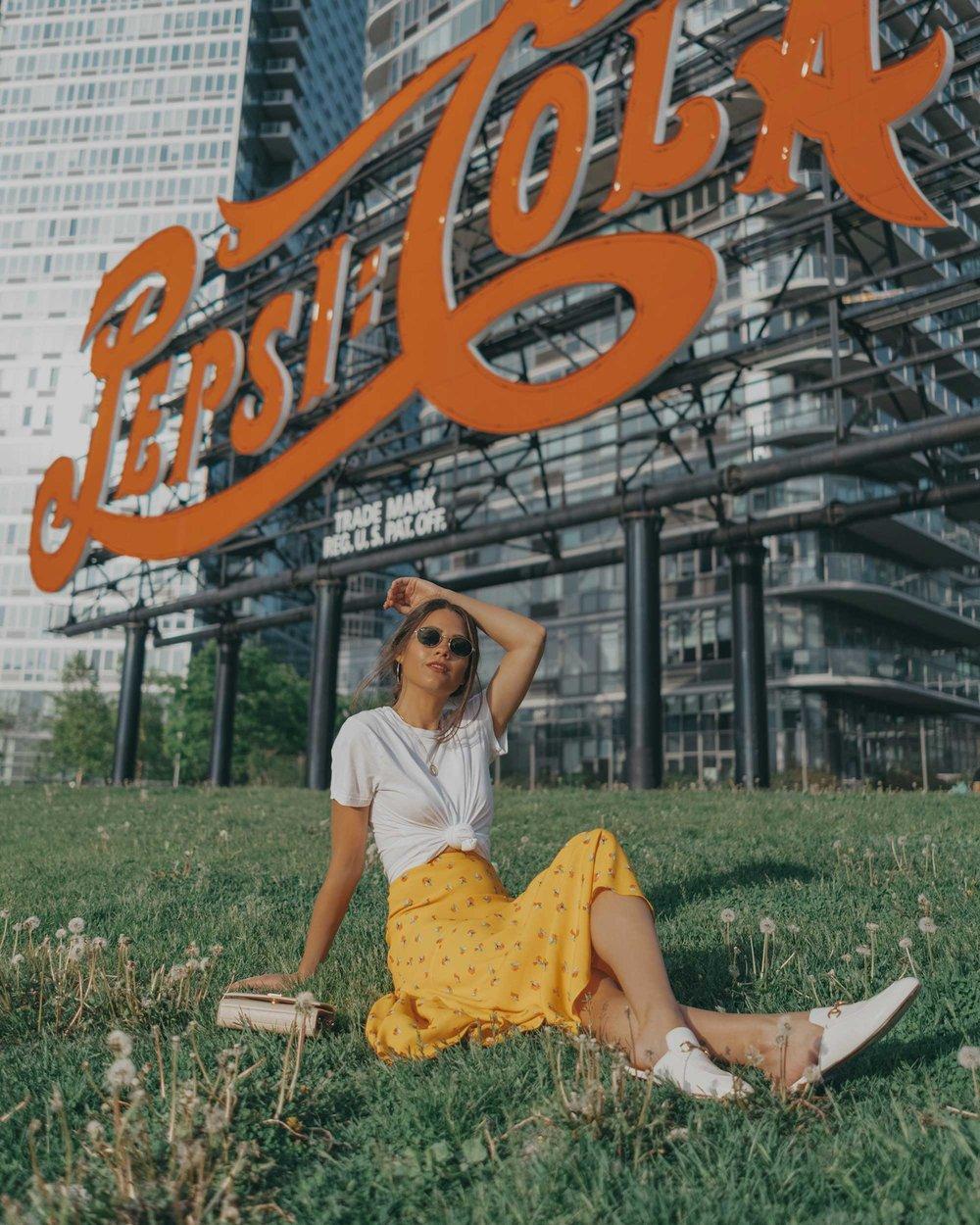 yellow floral midi skirt pepsi cola sign long island city9.jpg