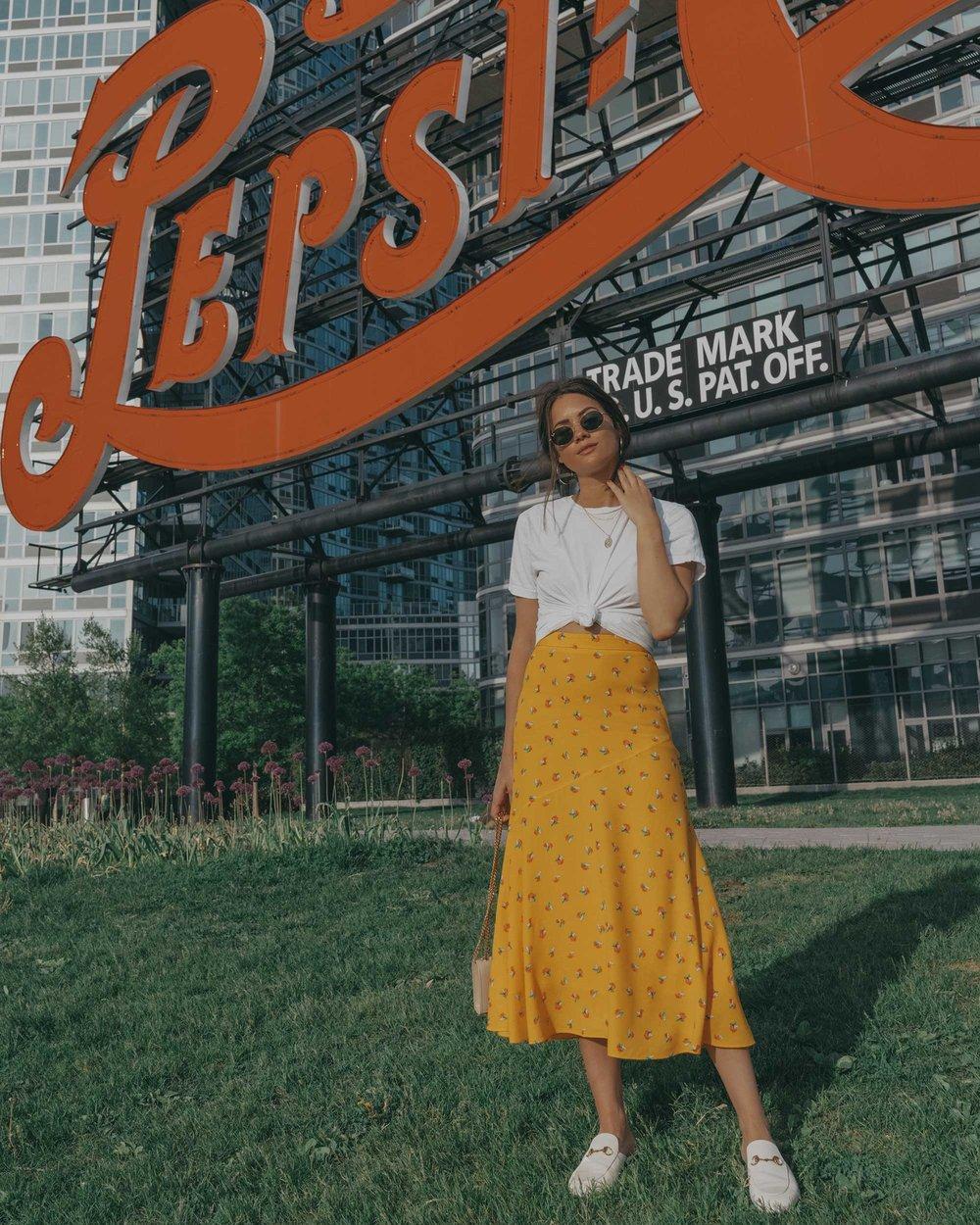 yellow floral midi skirt pepsi cola sign long island city7.jpg