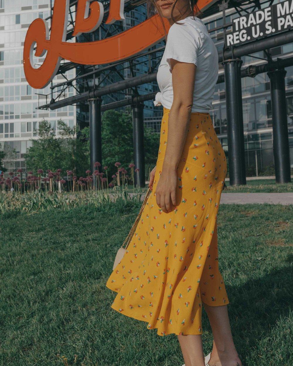 yellow floral midi skirt pepsi cola sign long island city5.jpg