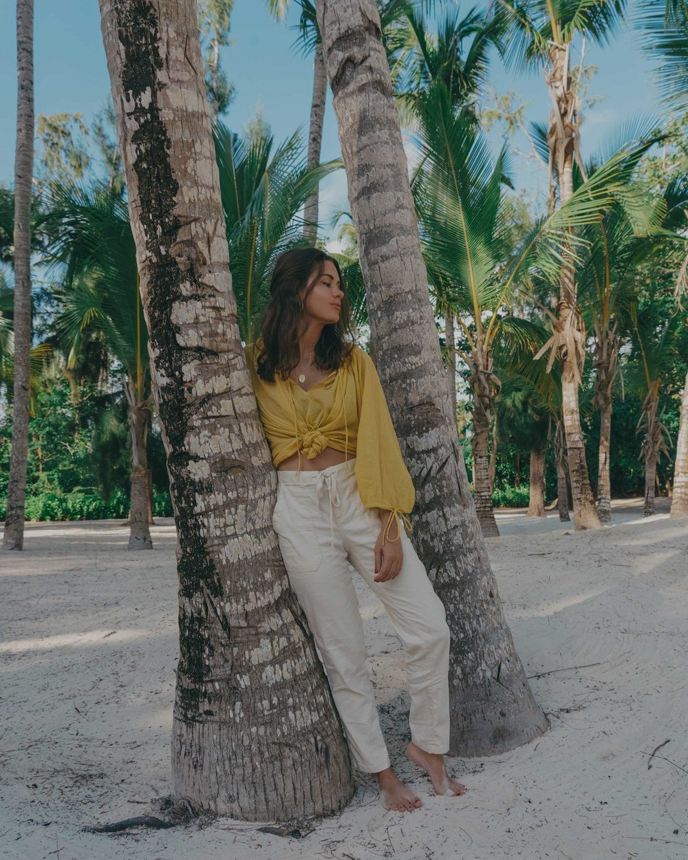 Lou & Grey Yellow Tie Up Blouse and Softstretch Linen Pants Dominica Republic Summer Beach Outfit6.jpg