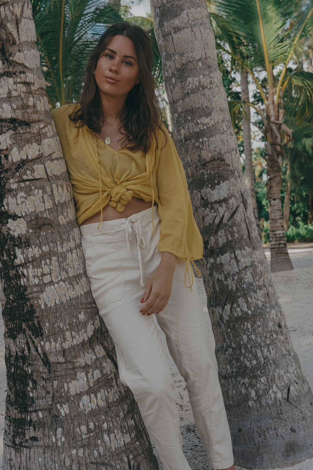 Lou & Grey Yellow Tie Up Blouse and Softstretch Linen Pants Dominica Republic Summer Beach Outfit10.jpg