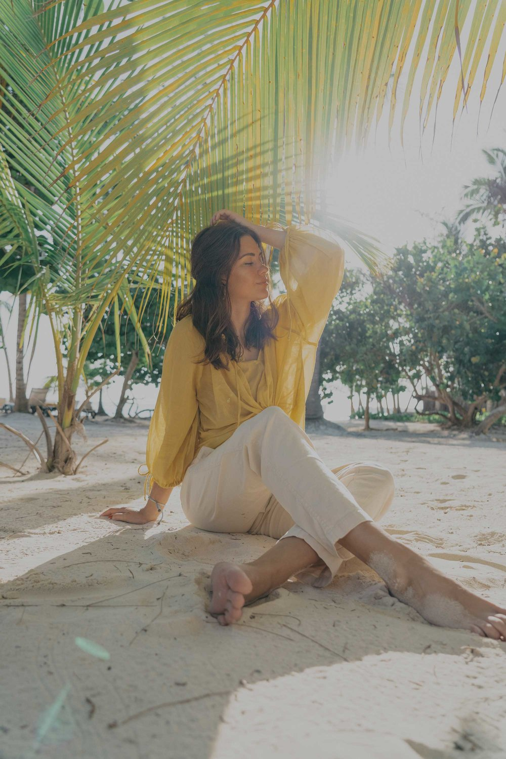 Lou & Grey Yellow Tie Up Blouse and Softstretch Linen Pants Dominica Republic Summer Beach Outfit2.jpg