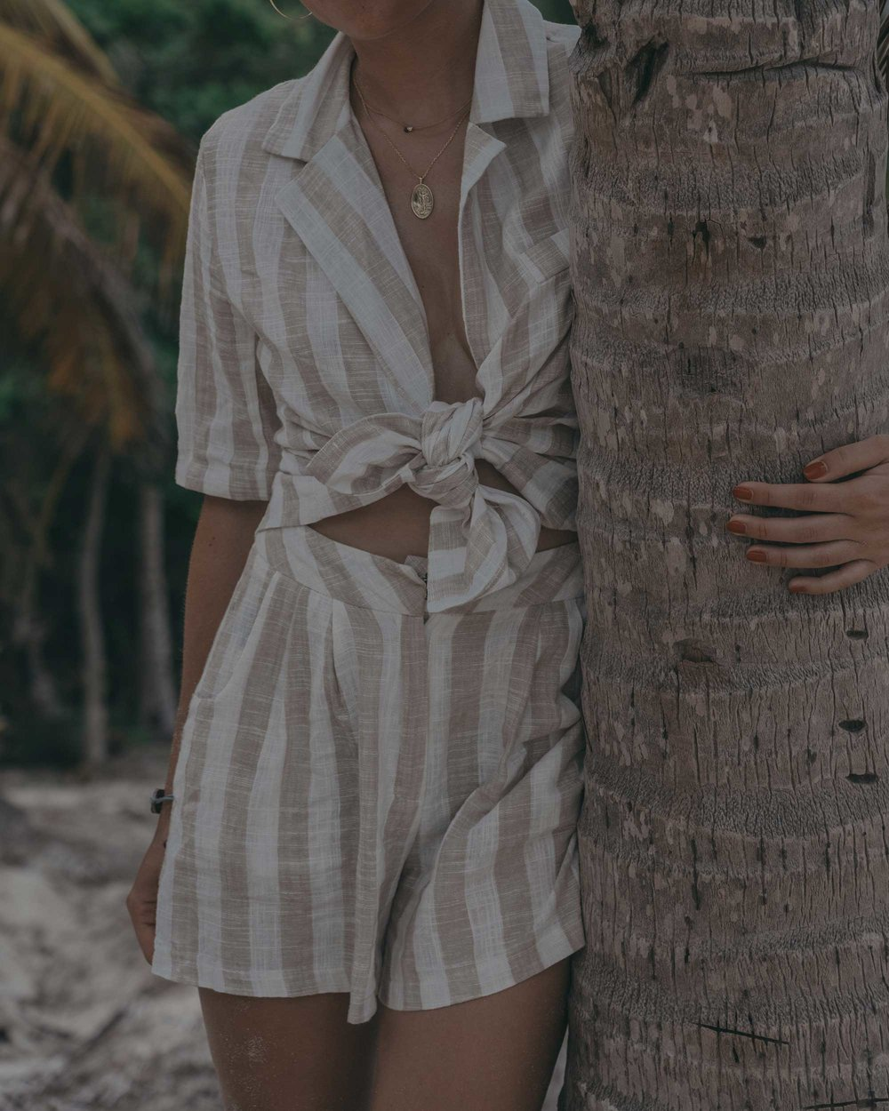 stripe linen blazer and short suit dominican republic beach outfit4.jpg