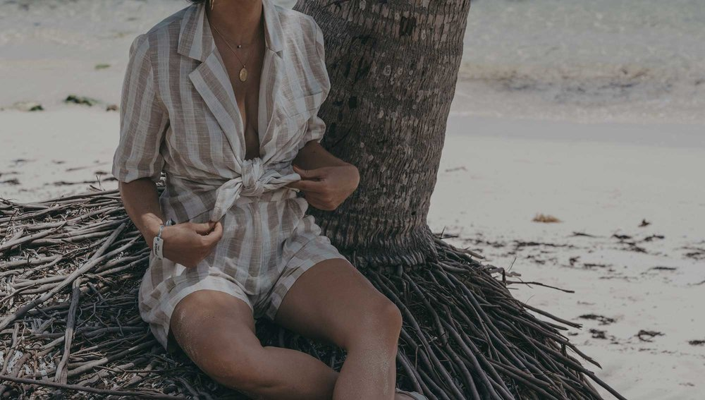 stripe linen blazer and short suit dominican republic beach outfit11.jpg