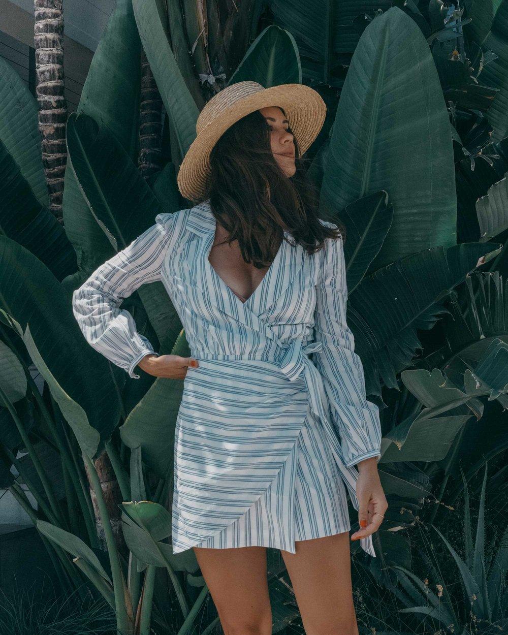 Stripes MAJORELLE Long Sleeve Dresses Tie Waist Poplin Blue Dresses Wrap Dresses Mini Dresses3.jpg