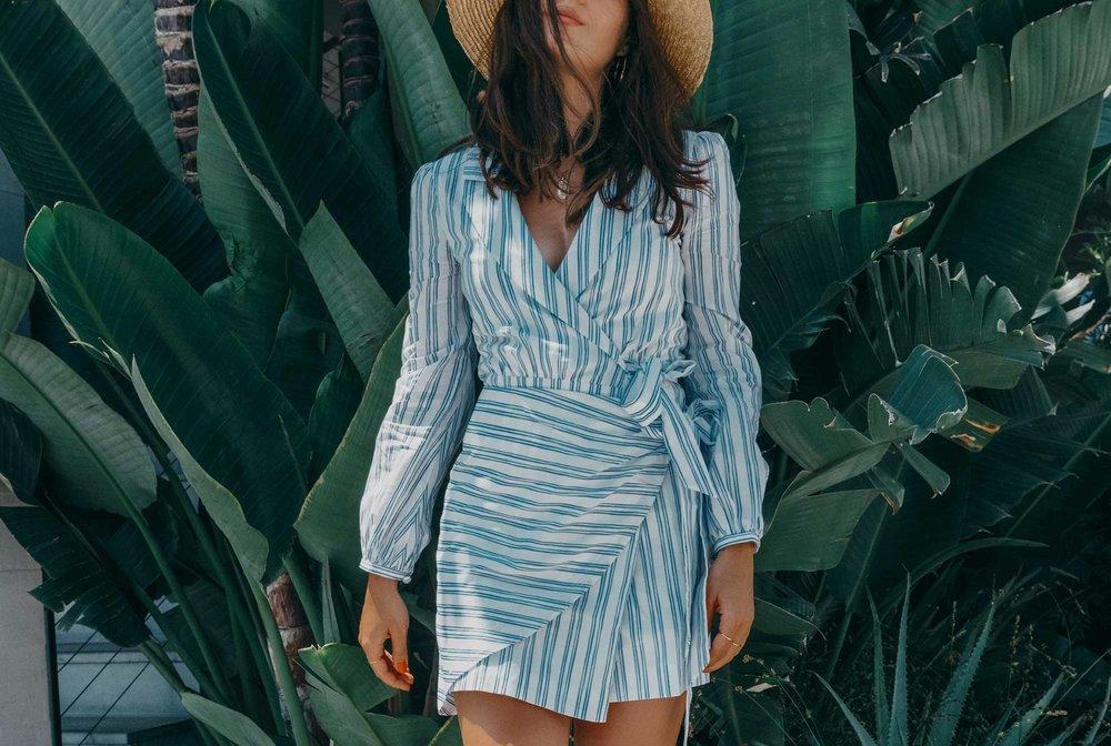 Stripes MAJORELLE Long Sleeve Dresses Tie Waist Poplin Blue Dresses Wrap Dresses Mini Dresses5.jpg