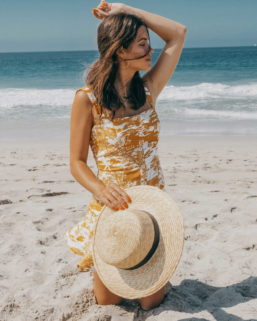 Reformation yellow mini dress with center front buttons Newport Beach California outfit8.jpg