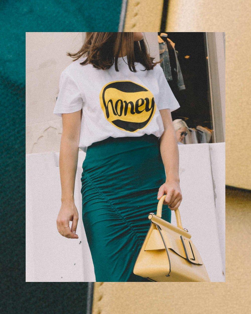 GANNI Honey T-Shirt, House of Harlow 1960 Ruching Midi Skirts High Waisted Skirts Mesh Sheer Turquoise Skirts, Boyy Karl 24 buckled leather tote yellow4.jpg