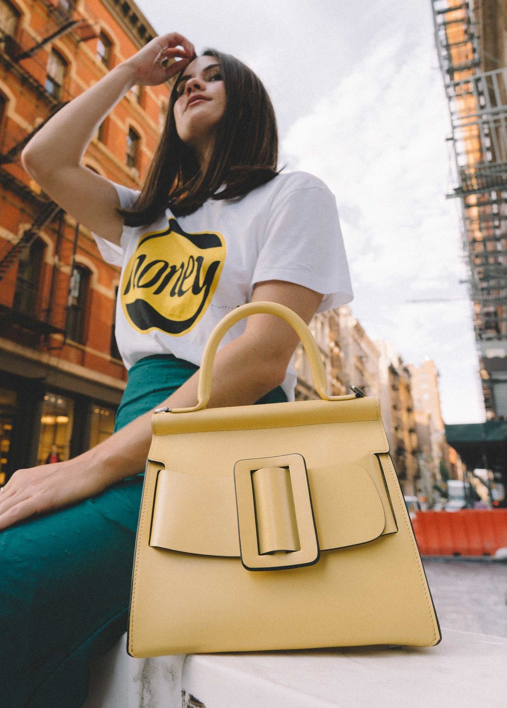 Boyy Karl 24 buckled leather tote yellow and GANNI Honey T-Shirt2.jpg