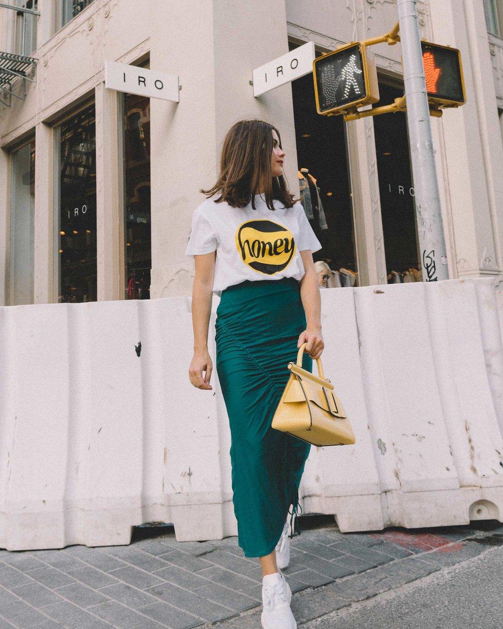 GANNI Honey T-Shirt, House of Harlow 1960 Ruching Midi Skirts High Waisted Skirts Mesh Sheer Turquoise Skirts, Boyy Karl 24 buckled leather tote yellow6.jpg