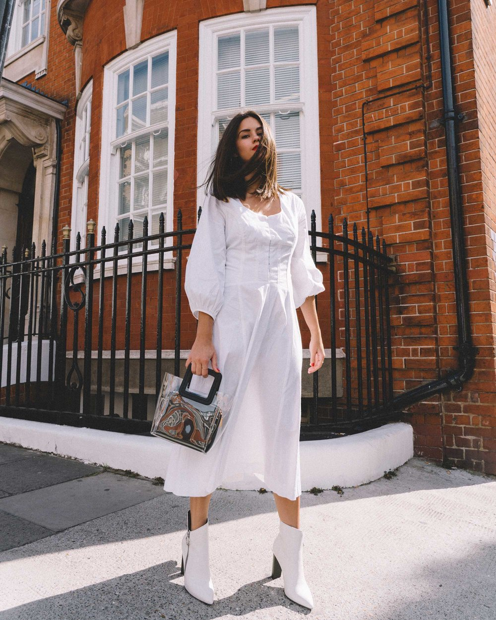 STAUD Eden Midi Dress, STAUD clear and black shirley mini PVC and leather tote, London Fashion Week Outfit20.jpg