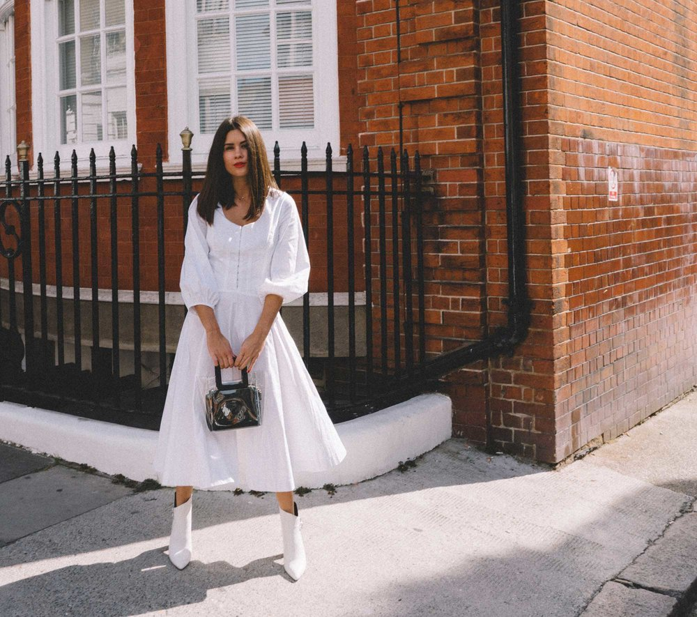 STAUD Eden Midi Dress, STAUD clear and black shirley mini PVC and leather tote, London Fashion Week Outfit12.jpg