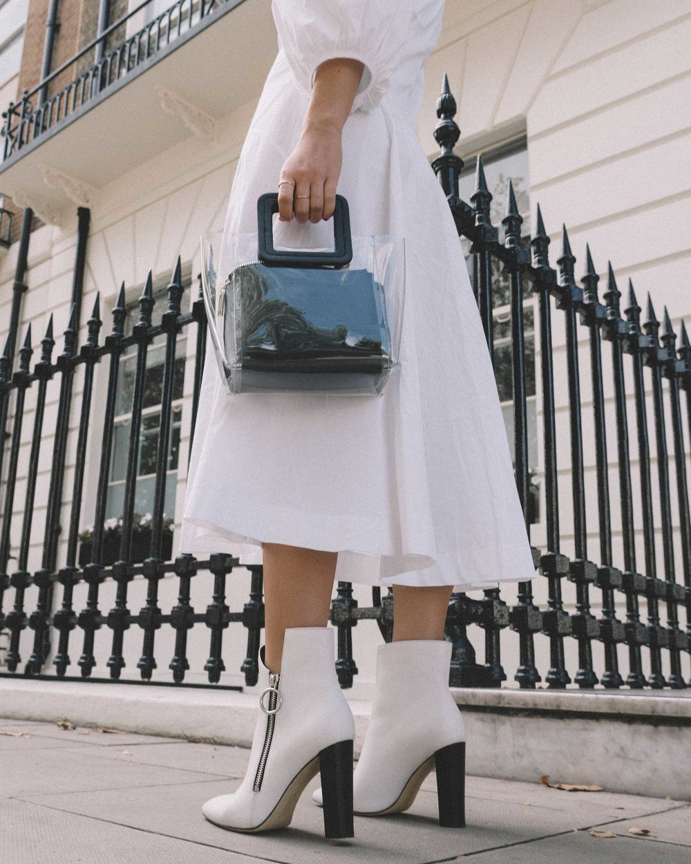 STAUD Eden Midi Dress, STAUD clear and black shirley mini PVC and leather tote, London Fashion Week Outfit6.jpg