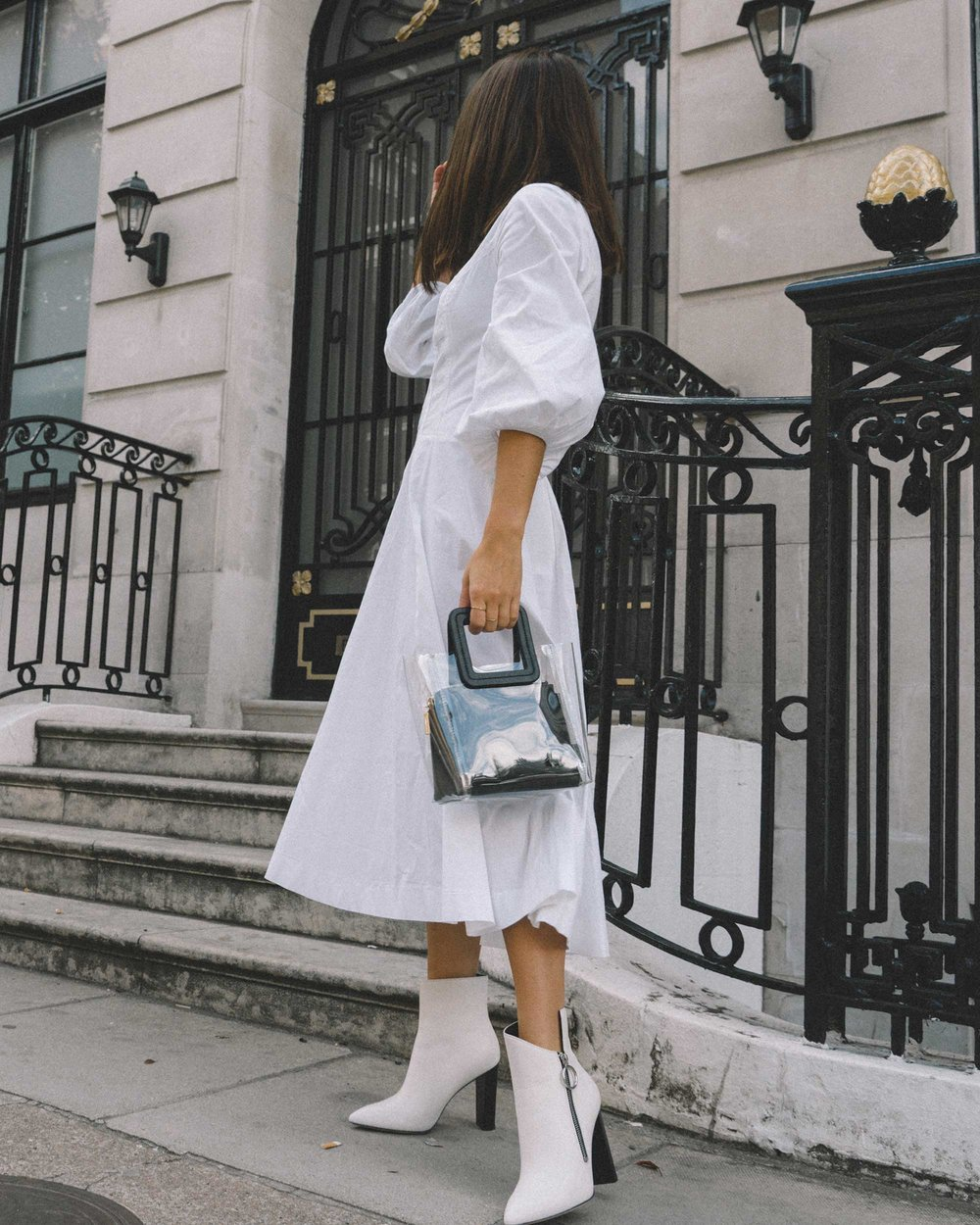 STAUD Eden Midi Dress, STAUD clear and black shirley mini PVC and leather tote, London Fashion Week Outfit11.jpg