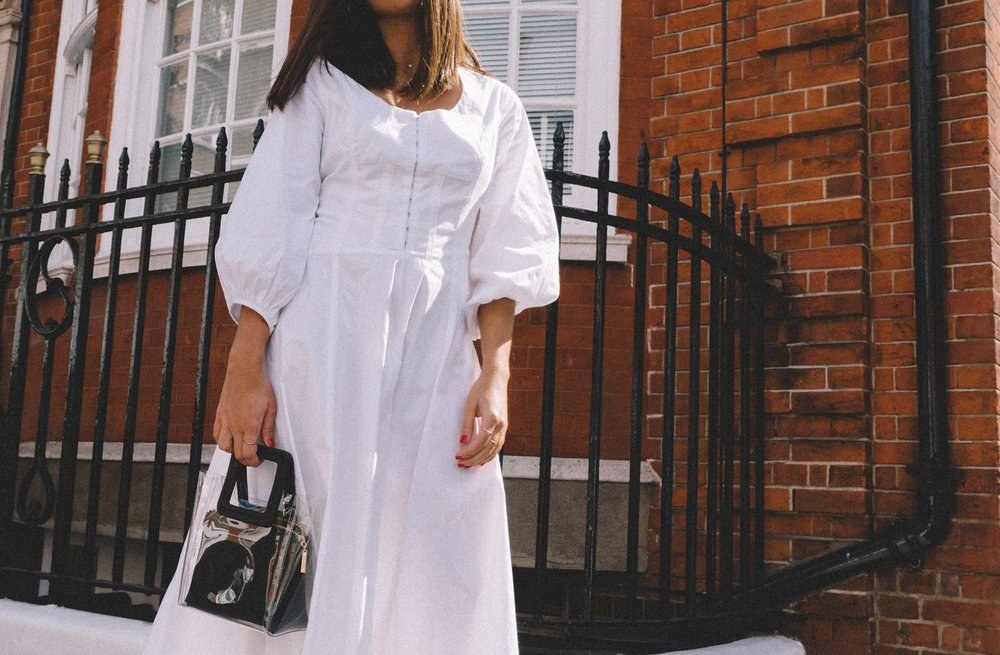 STAUD Eden Midi Dress, STAUD clear and black shirley mini PVC and leather tote, London Fashion Week Outfit19.jpg