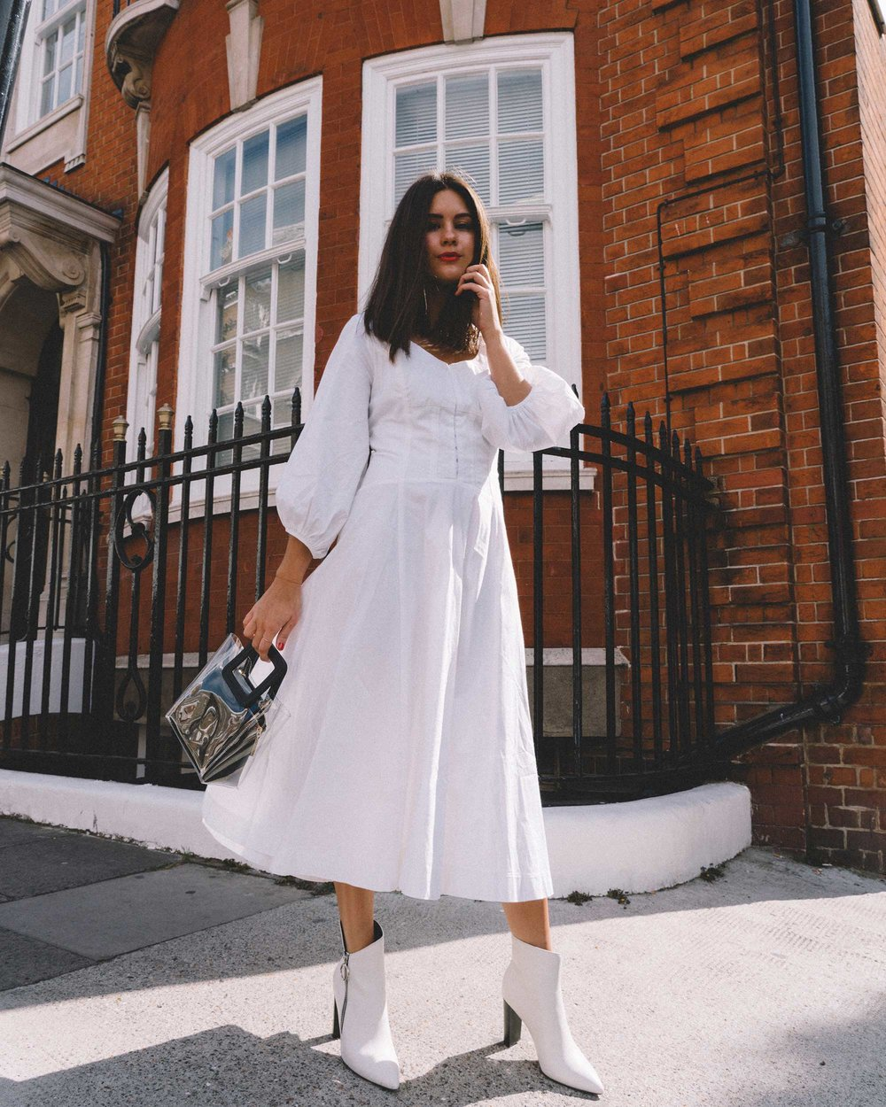 STAUD Eden Midi Dress, STAUD clear and black shirley mini PVC and leather tote, London Fashion Week Outfit17.jpg