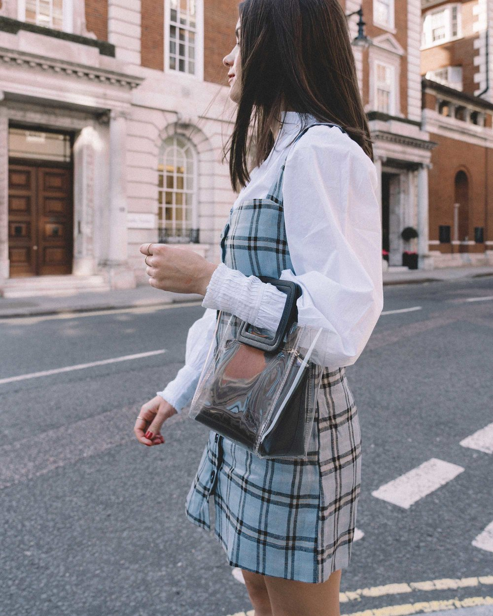 Reformation plaid button front mini dress, Joie Rickelle white blouse Top, London Fashion Week Outfit, Fall Plaid Dress, Fall Plaid Outfit10.jpg