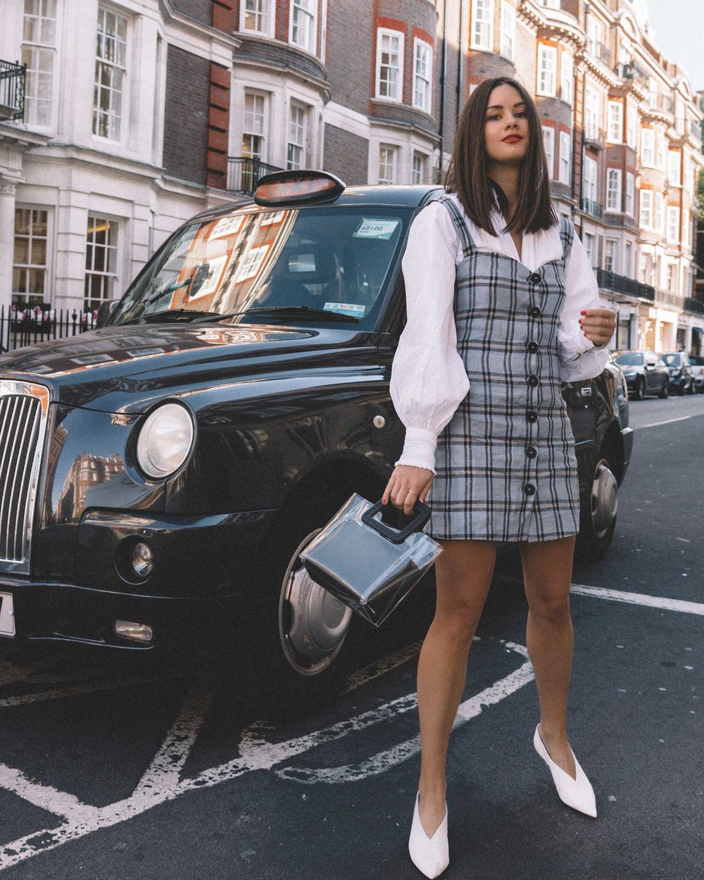 Reformation plaid button front mini dress, Joie Rickelle white blouse Top, London Fashion Week Outfit, Fall Plaid Dress, Fall Plaid Outfit1.jpg