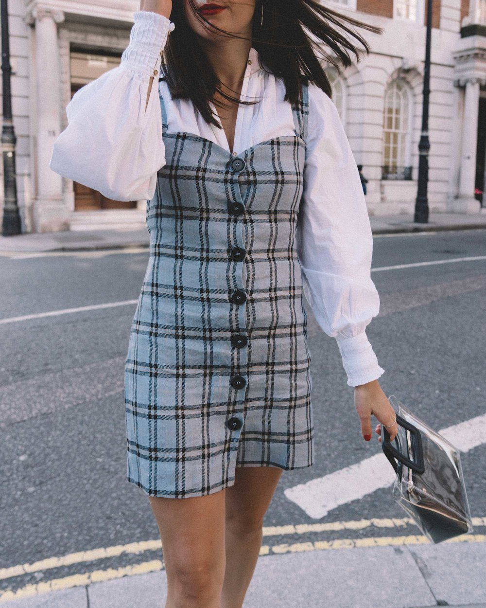 Reformation plaid button front mini dress, Joie Rickelle white blouse Top, London Fashion Week Outfit, Fall Plaid Dress, Fall Plaid Outfit7.jpg