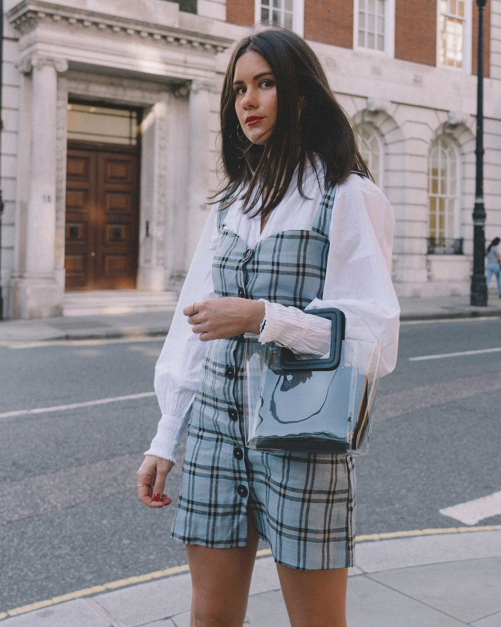 Reformation plaid button front mini dress, Joie Rickelle white blouse Top, London Fashion Week Outfit, Fall Plaid Dress, Fall Plaid Outfit12.jpg