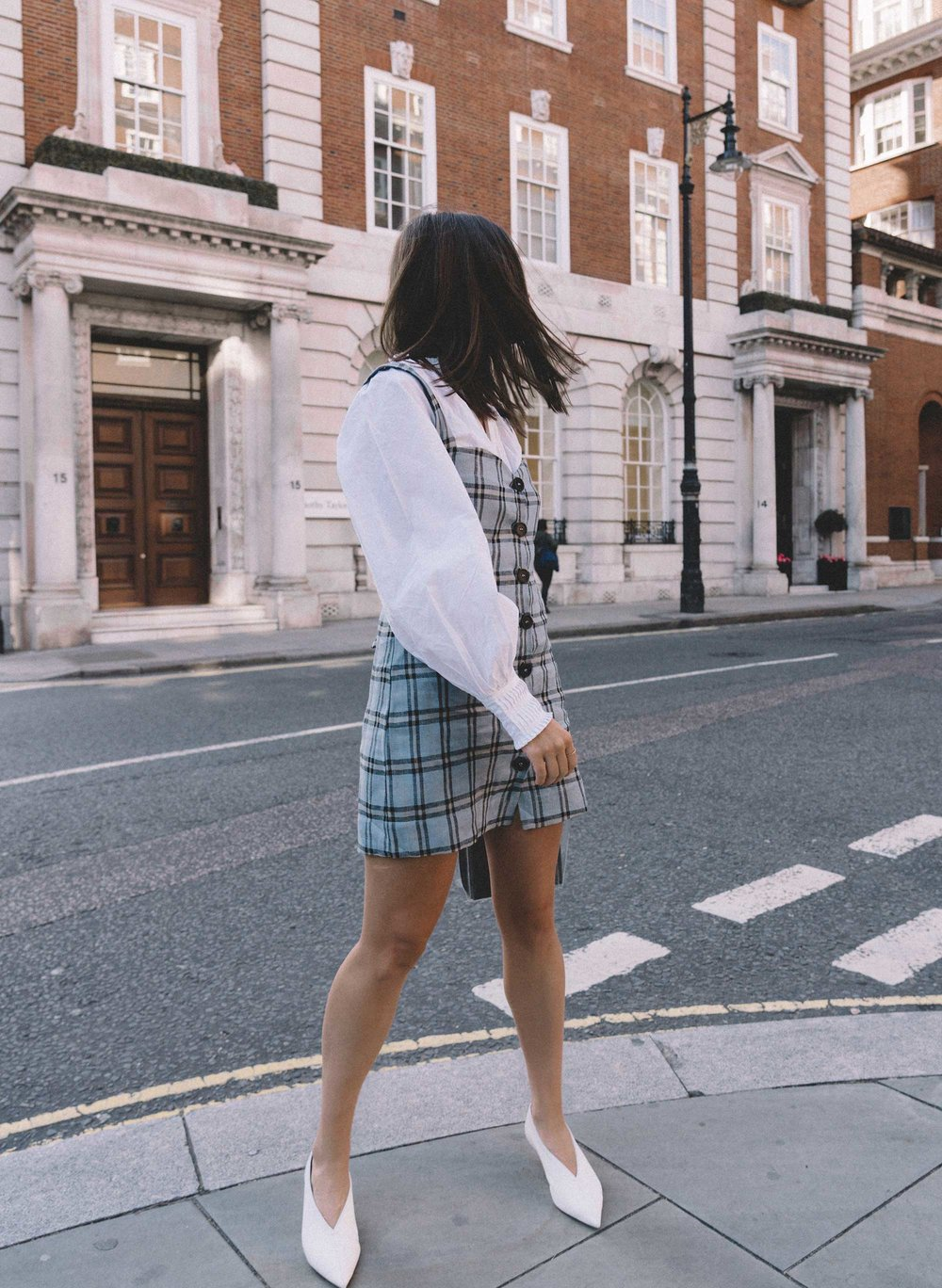 Reformation plaid button front mini dress, Joie Rickelle white blouse Top, London Fashion Week Outfit, Fall Plaid Dress, Fall Plaid Outfit6.jpg