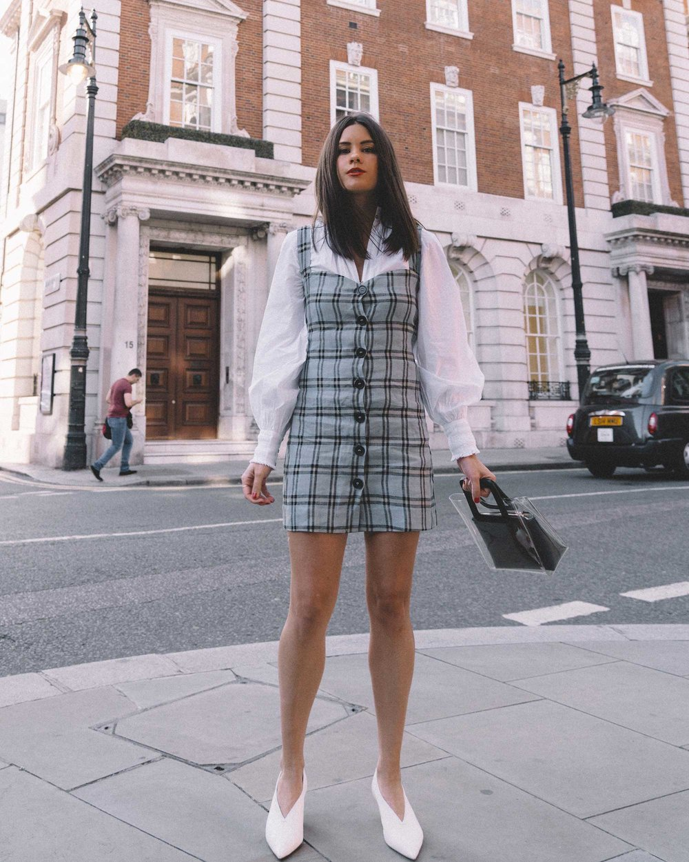 Reformation plaid button front mini dress, Joie Rickelle white blouse Top, London Fashion Week Outfit, Fall Plaid Dress, Fall Plaid Outfit11.jpg