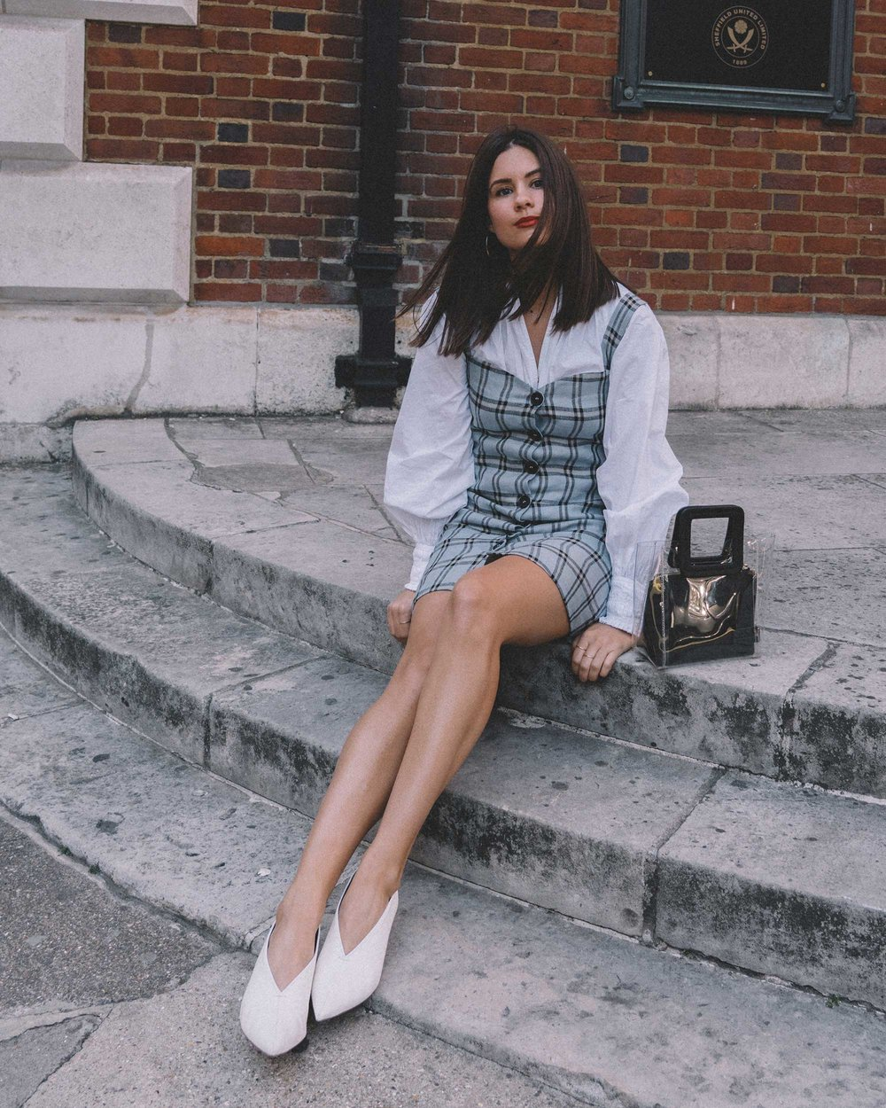 Reformation plaid button front mini dress, Joie Rickelle white blouse Top, London Fashion Week Outfit, Fall Plaid Dress, Fall Plaid Outfit15.jpg