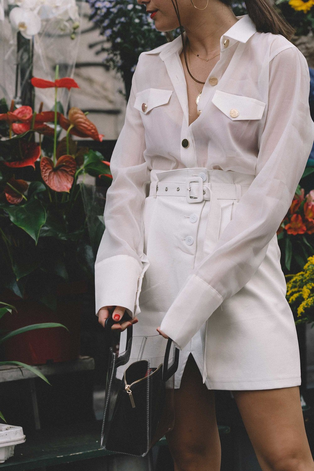 Sheer picket blouse, white leather skirt with belt, STAUD clear and black shirley mini PVC and leather tote, milan outfit11.jpg