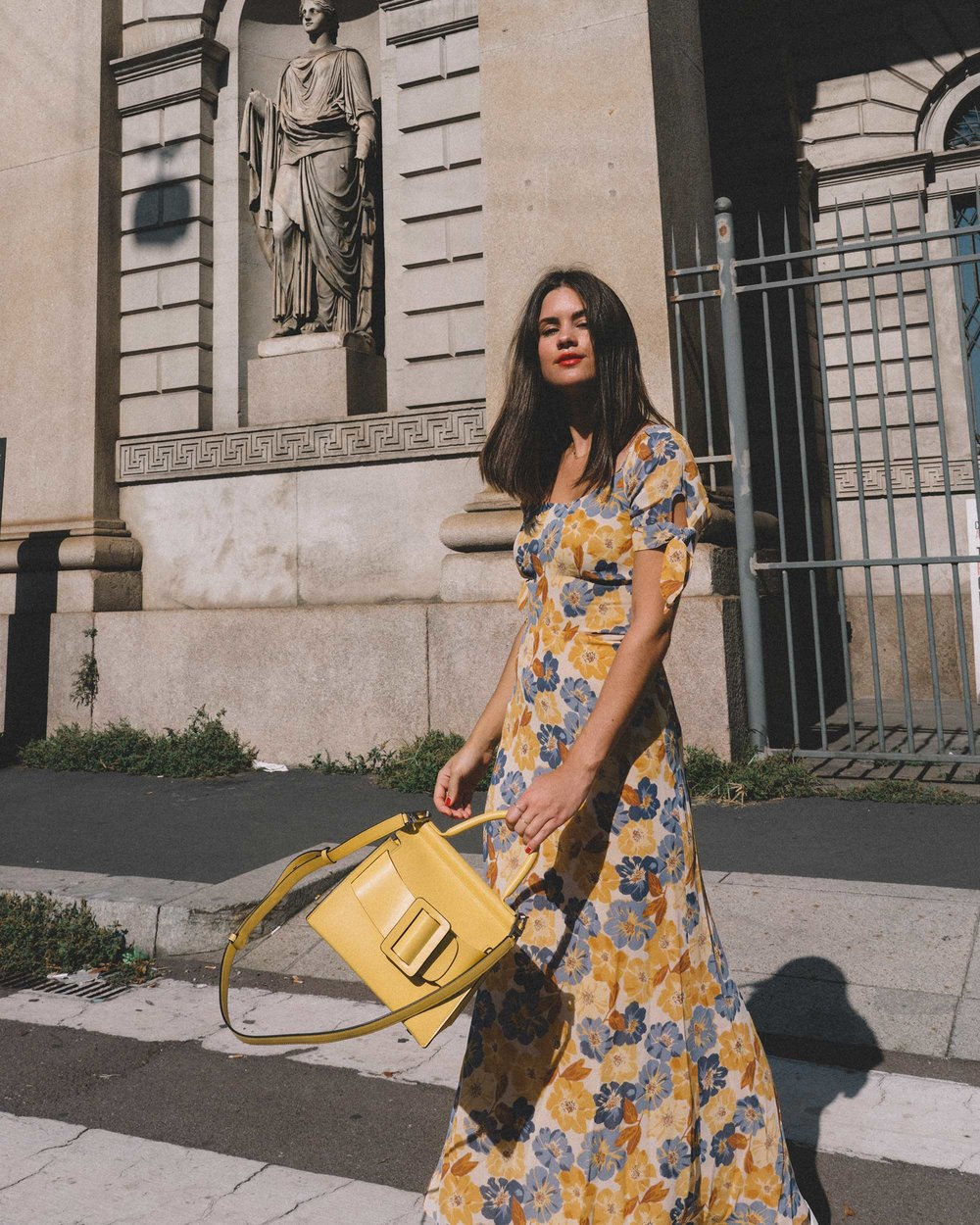 Yellow Floral midi length dress and Boyy Karl 24 buckled leather tote yellow-8.jpg