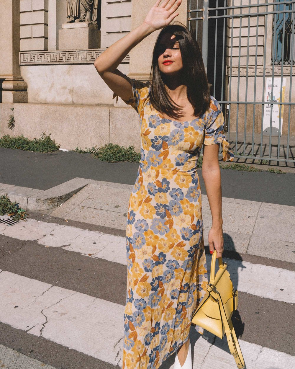 Yellow Floral midi length dress and Boyy Karl 24 buckled leather tote yellow-3.jpg