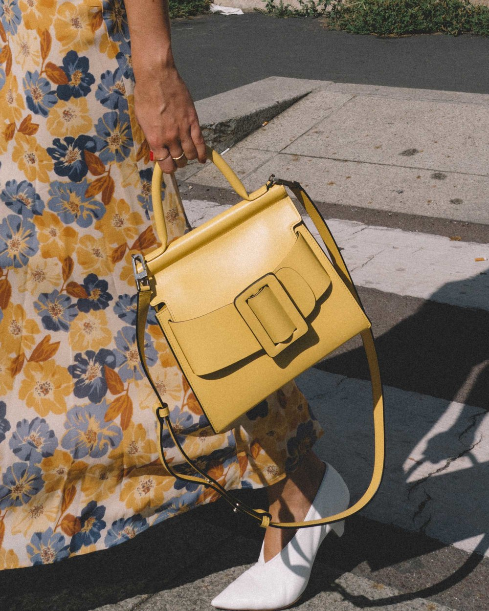 Yellow Floral midi length dress and Boyy Karl 24 buckled leather tote yellow-5.jpg