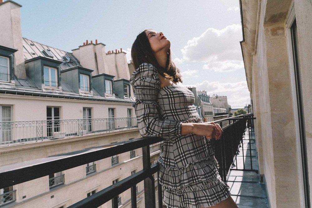 MAJORELLE Plaid Long Sleeve Dress Paris Girl Balcony Outfit4.jpg