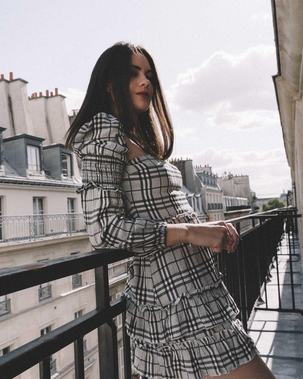 MAJORELLE Plaid Long Sleeve Dress Paris Girl Balcony Outfit5.jpg