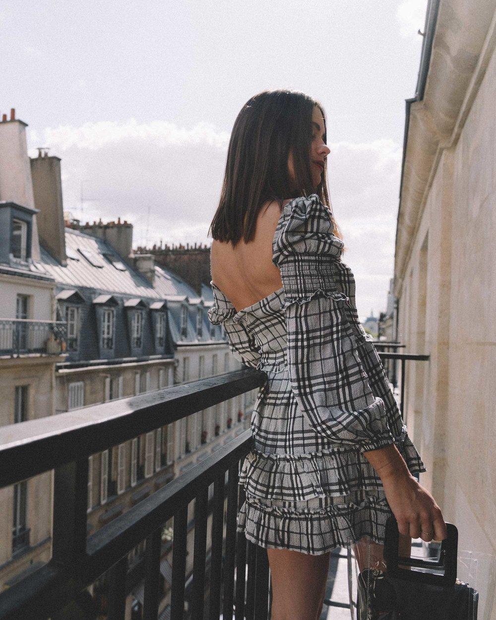 MAJORELLE Plaid Long Sleeve Dress Paris Girl Balcony Outfit3.jpg