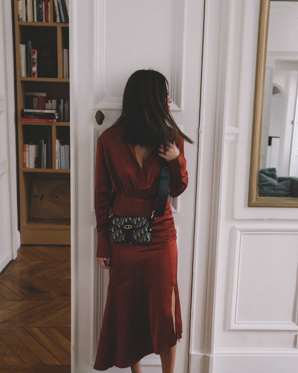 Button Up Satin Blouse, Asymmetric Slit Midi Skirt, Luxury Paris Apartment, Fall Outfit3.jpg