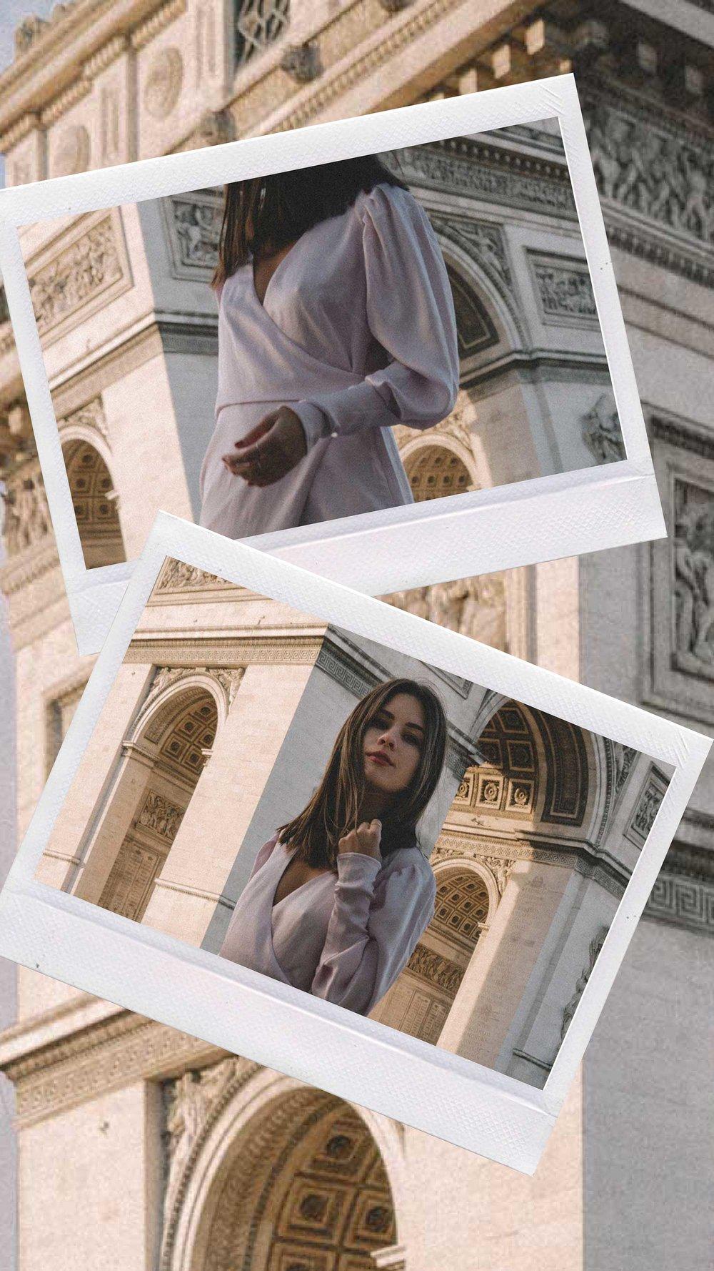 Joie Kyrene Long sleeves silk Wrap Midi Dress in purple Arc de Triomphe Paris Outfit10.jpg