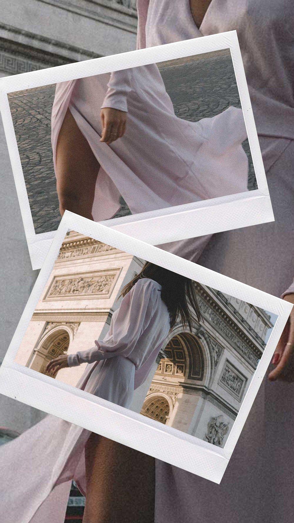 Joie Kyrene Long sleeves silk Wrap Midi Dress in purple Arc de Triomphe Paris Outfit9.jpg