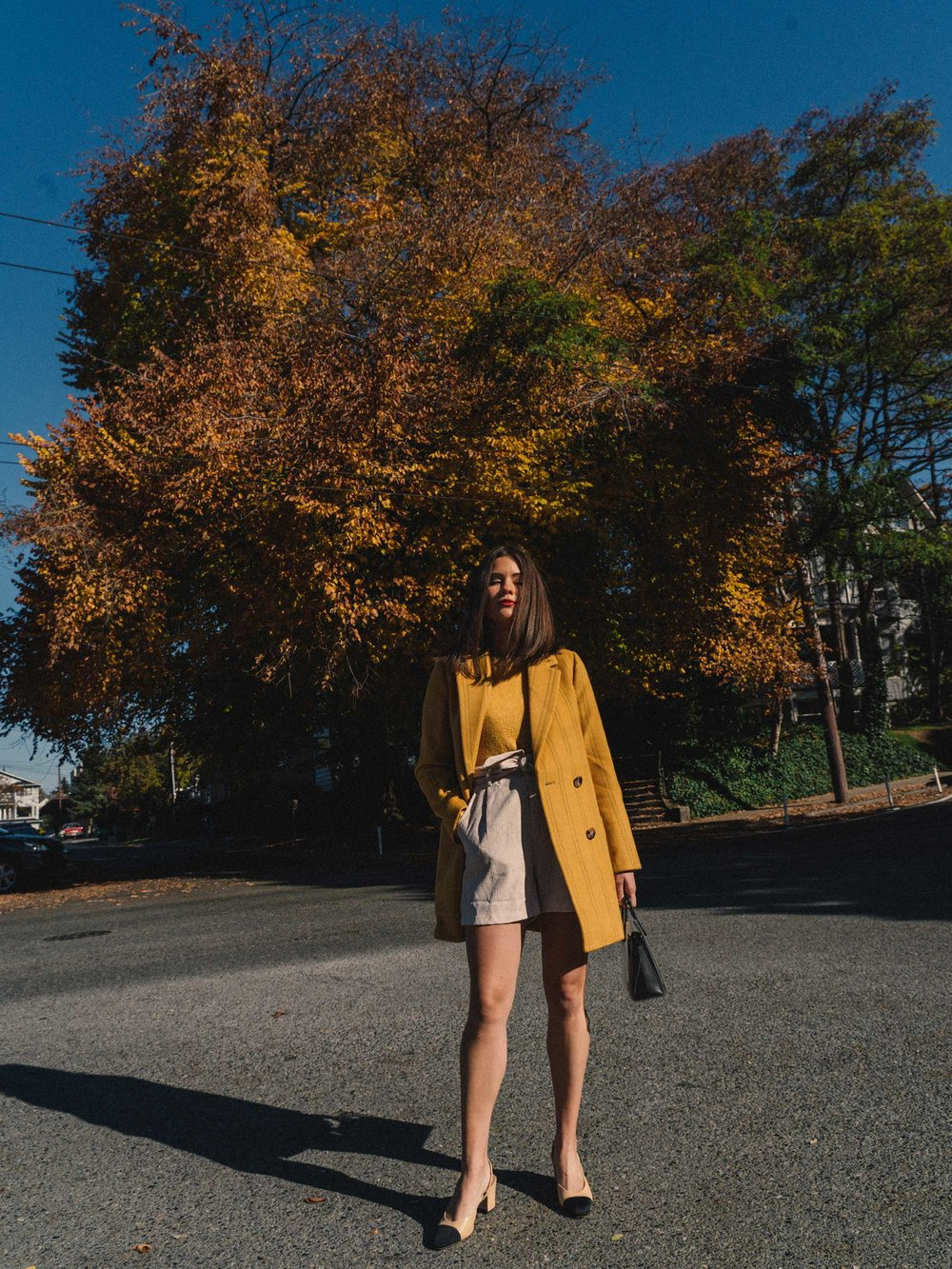 Madewell Hollis Double-Breasted Stripe Yellow Blazer Coat, corduroy shorts, fall outfit, fall leaves in Seattle 1.jpg