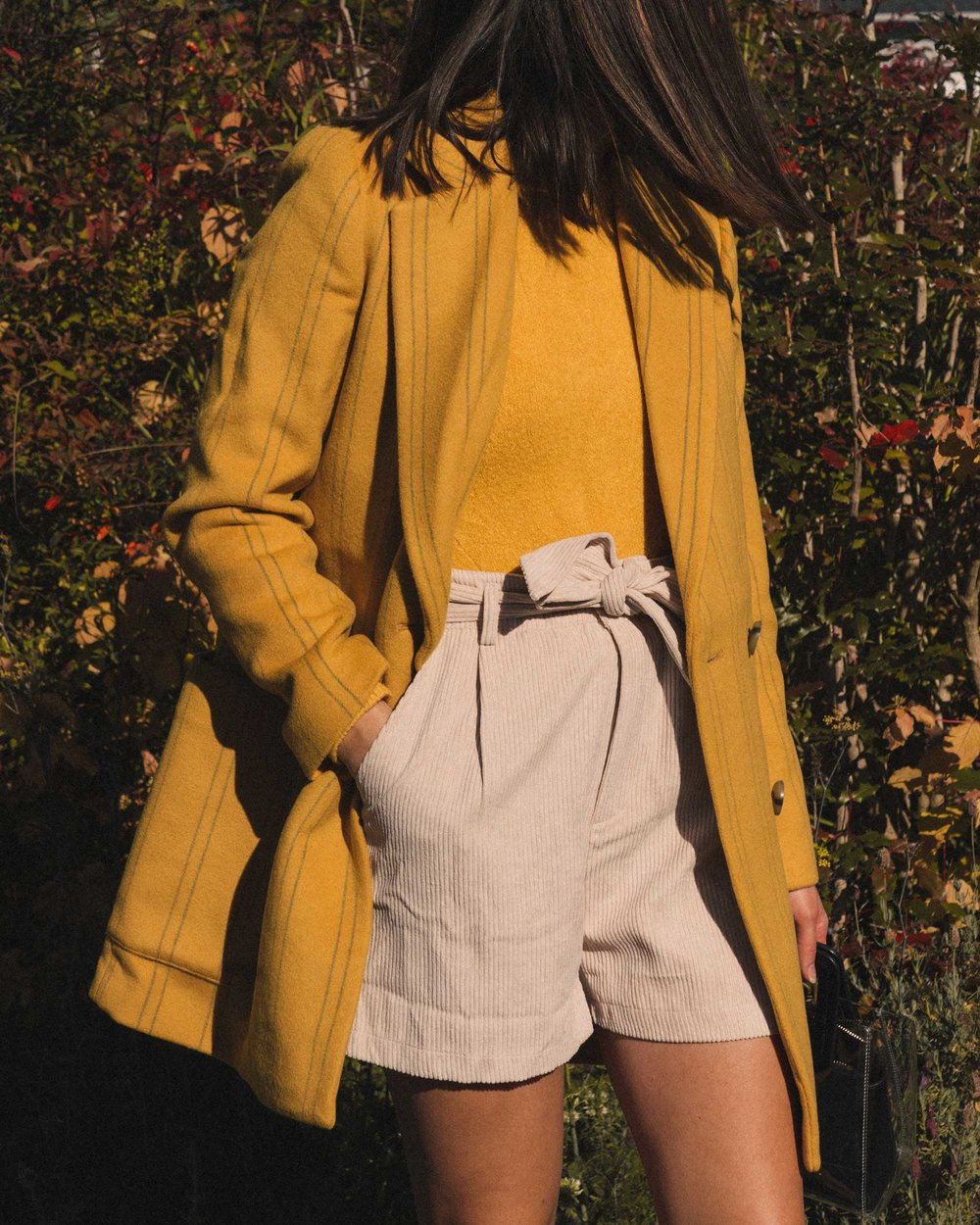 Madewell Hollis Double-Breasted Stripe Yellow Blazer Coat, corduroy shorts, fall outfit, fall leaves in Seattle 19.jpg