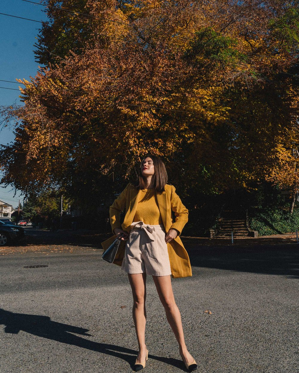 Madewell Hollis Double-Breasted Stripe Yellow Blazer Coat, corduroy shorts, fall outfit, fall leaves in Seattle 6.jpg