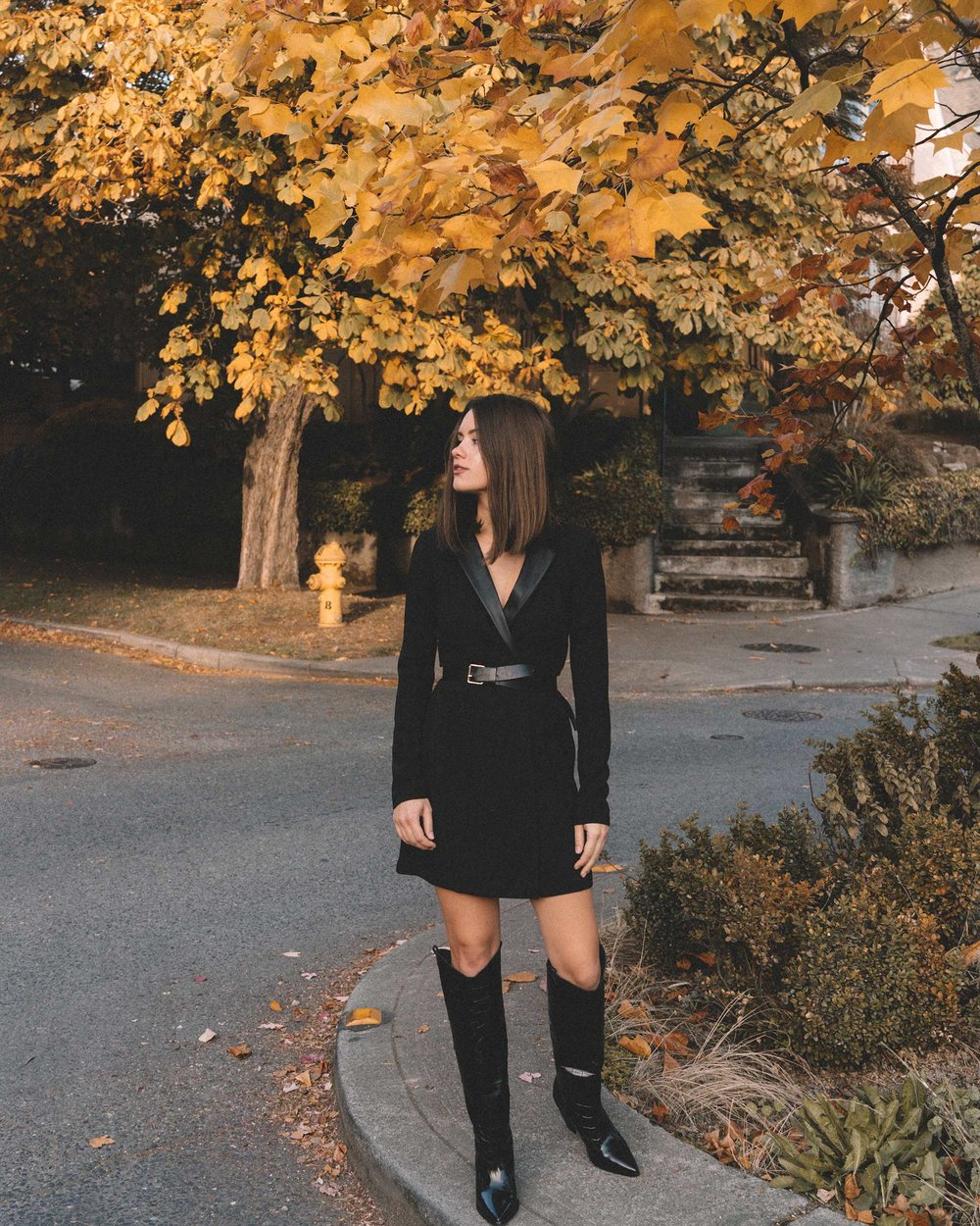 bcbgeneration blazer dress in black, Sigerson Morrison Karida Black Leather Knee High Boot, fall outfit 1.jpg